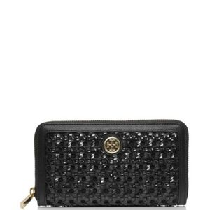 Tory Burch Black Basket Weave Wallet